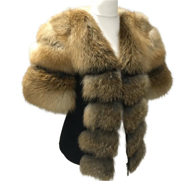 Black coat jacket cashmere trim red fox fur