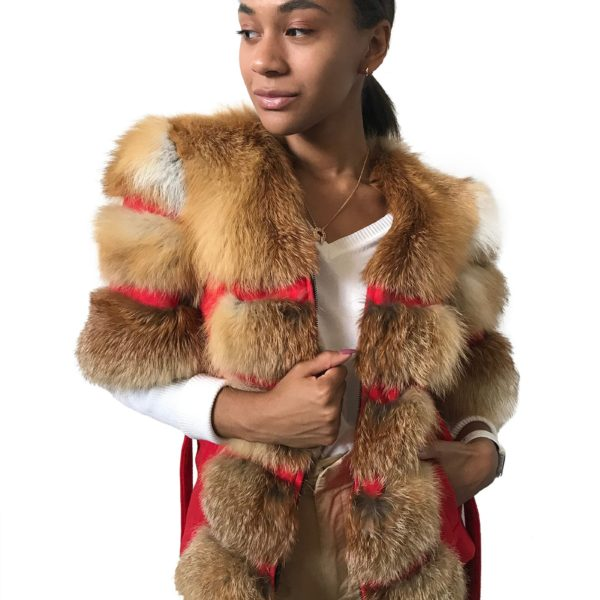 Сoat jacket cashmere trim red fox