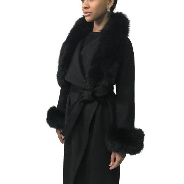 Black coat cashmere trim arctic fox fur