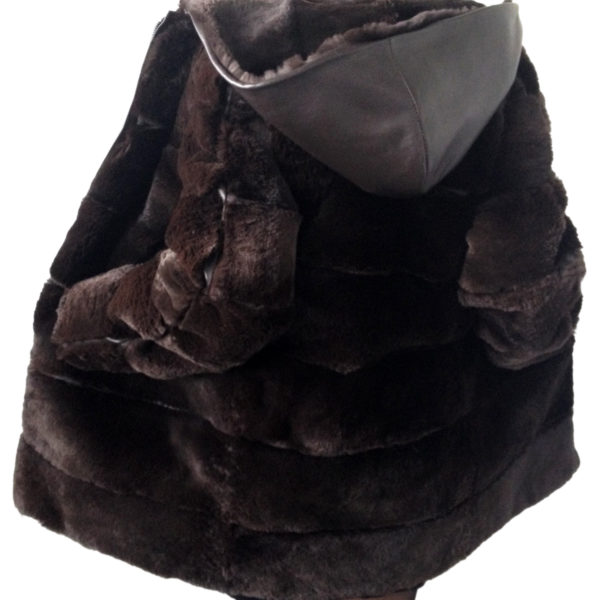 Brown coat chinchilla rex rabbit fur and leather