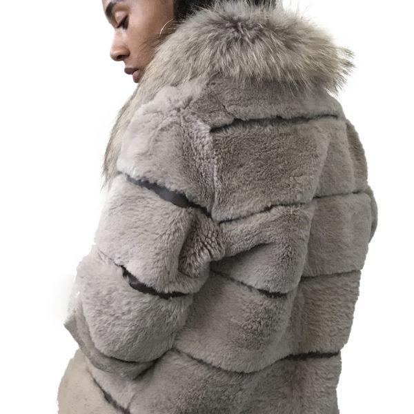 Beige coat rabbit fur and leather