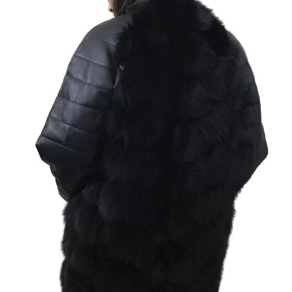 Navy Coat arctic fox fur and leather
