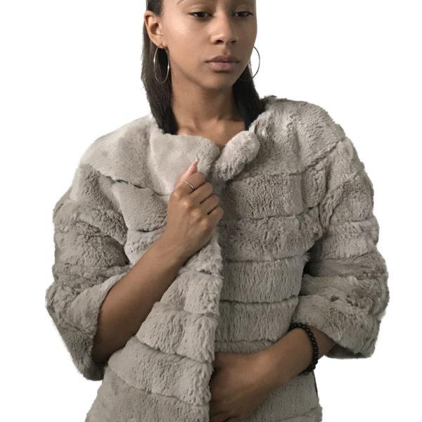 Beige coat rabbit fur
