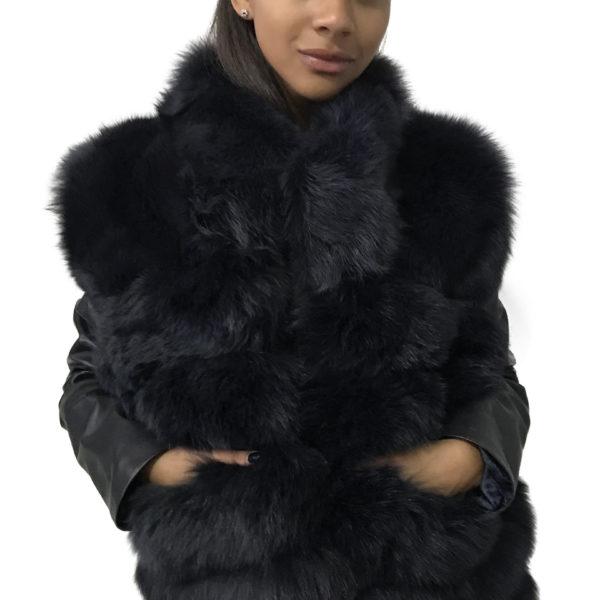 Coat arctic fox fur and leather