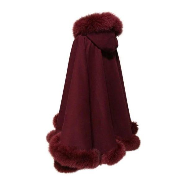 VERY BIG Size Poncho Cape Coat cashmere fox fur trim
