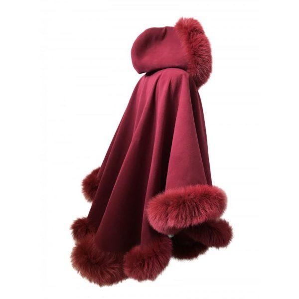 Coat Cape cashmere hood fox fur trim