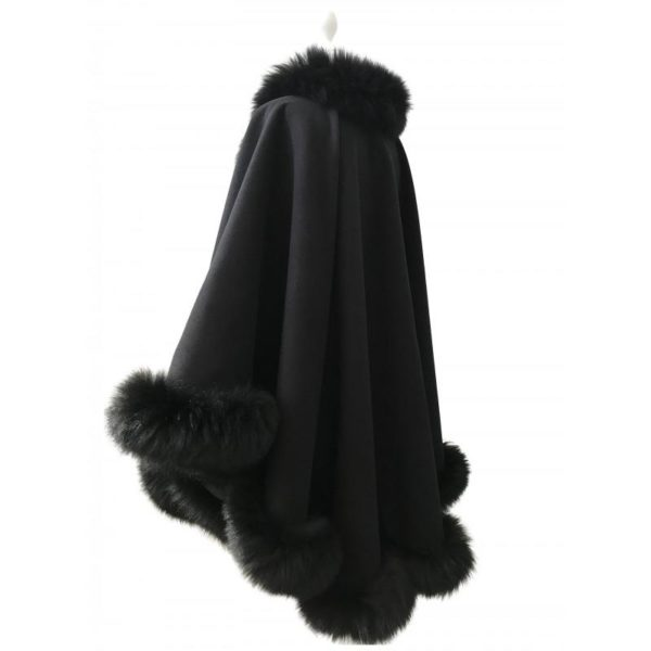 Coat Cape cashmere fox fur trim